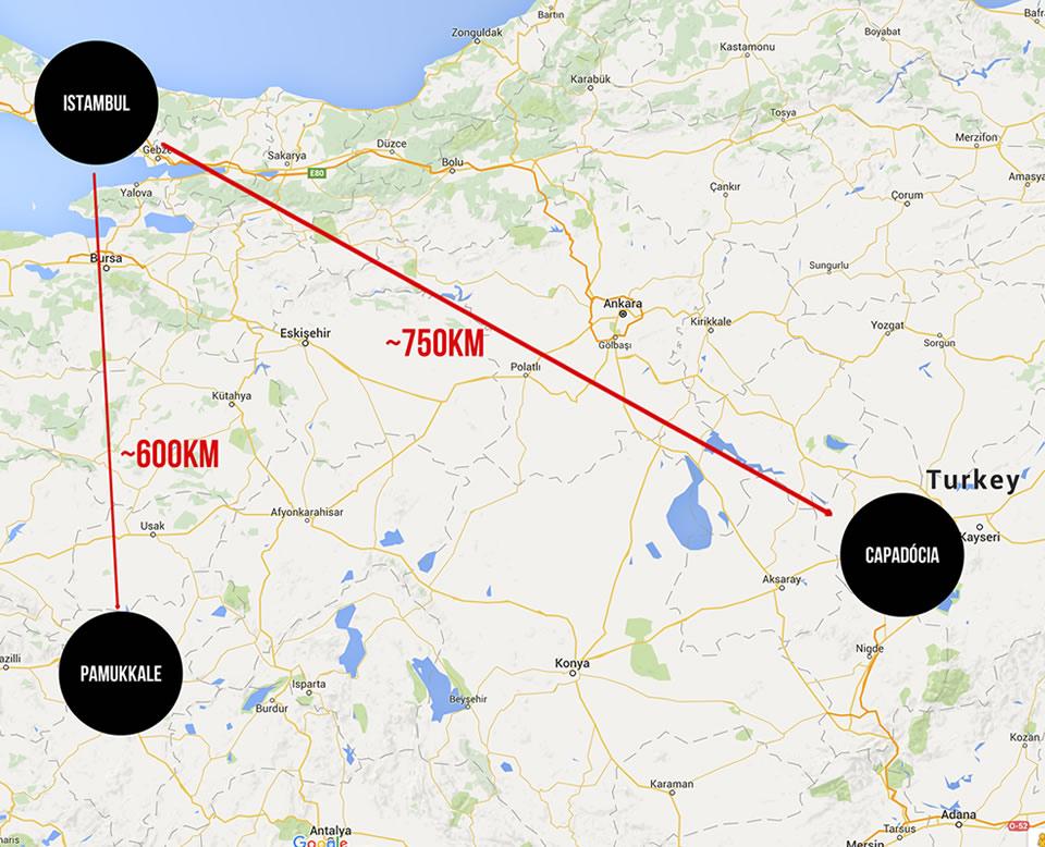 Mapa: Istambul, Pamukkale e Capadócia.